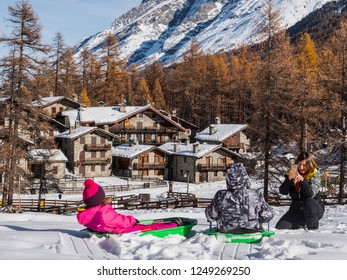 Val di Rhemes, Rhemes Notre Dame, Aosta - 2018 December 1: Gran Paradiso National Park in Val d'Aosta, Aosta, Italy.