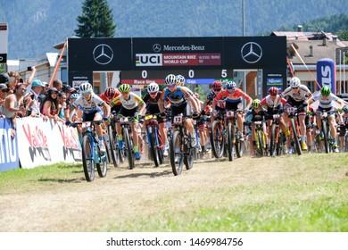 Val di Sole, Italy, August 04 2019 PARTENZA ELITE WOMAN during the Coppa del Mondo Cross-Country - Val di Sole UCI MTB World Cup 2019 - Women CICLISMO MTB - MOUNTAIN BIKE