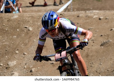 Val di Sole, Italy, August 04 2019 KATE COURTNEY during the Coppa del Mondo Cross-Country - Val di Sole UCI MTB World Cup 2019 - Women CICLISMO MTB - MOUNTAIN BIKE