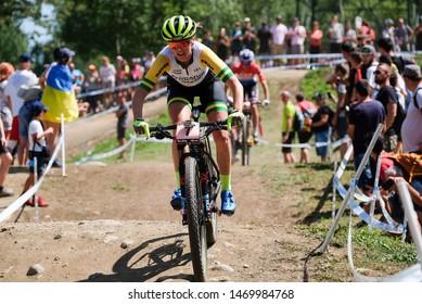 Val di Sole, Italy, August 04 2019 REBECCA ELLEN MCCONNEL during the Coppa del Mondo Cross-Country - Val di Sole UCI MTB World Cup 2019 - Women CICLISMO MTB - MOUNTAIN BIKE