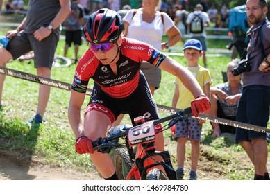 Val di Sole, Italy, August 04 2019 PAULA GORYCKA during the Coppa del Mondo Cross-Country - Val di Sole UCI MTB World Cup 2019 - Women CICLISMO MTB - MOUNTAIN BIKE