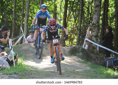 Val di Sole, Italy, August 04 2019 CHLOE WOODRUFF - TANJA ZAKELJ during the Coppa del Mondo Cross-Country - Val di Sole UCI MTB World Cup 2019 - Women CICLISMO MTB - MOUNTAIN BIKE