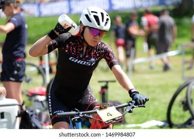 Val di Sole, Italy, August 04 2019 SINA FREI during the Coppa del Mondo Cross-Country - Val di Sole UCI MTB World Cup 2019 - Women CICLISMO MTB - MOUNTAIN BIKE