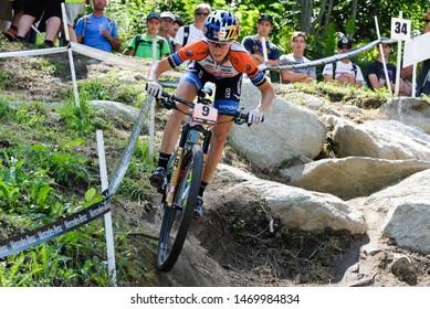 Val di Sole, Italy, August 04 2019 YANA BELOMOINA during the Coppa del Mondo Cross-Country - Val di Sole UCI MTB World Cup 2019 - Women CICLISMO MTB - MOUNTAIN BIKE
