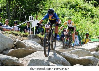 Val di Sole, Italy, August 04 2019 JENNY RISSVEDES during the Coppa del Mondo Cross-Country - Val di Sole UCI MTB World Cup 2019 - Women CICLISMO MTB - MOUNTAIN BIKE