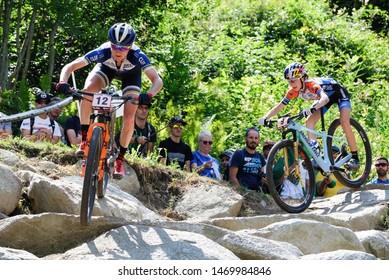 Val di Sole, Italy, August 04 2019 CATHARINE PENDREL- YANA BELOMOINA during the Coppa del Mondo Cross-Country - Val di Sole UCI MTB World Cup 2019 - Women CICLISMO MTB - MOUNTAIN BIKE
