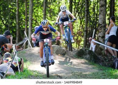 Val di Sole, Italy, August 04 2019 PAULINE FERRAND PREVOT - JOLANDA NEFF during the Coppa del Mondo Cross-Country - Val di Sole UCI MTB World Cup 2019 - Women CICLISMO MTB - MOUNTAIN BIKE
