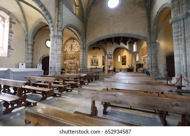 VAL DI SUSA, ITALY - MAY 25, 2016: Interior of Sacra di San Michele on May 25, 2016 in Val di Susa, Italy. It is a landmark pilgrimage site in Italy.