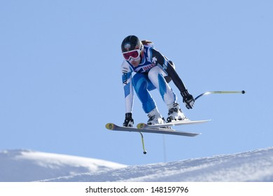 VAL D'ISERE FRANCE. 18-12-2010. Carolina Ruiz-Castillo (SPA) takes to the air during the women's downhill race at the FIS Alpine skiing World Cup Val D'Isere France.
