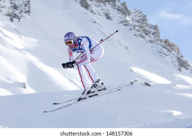 VAL D'ISERE FRANCE. 18-12-2010. Ingrid Jacquemod (FRA) takes to the air during the women's downhill race at the FIS Alpine skiing World Cup Val D'Isere France.