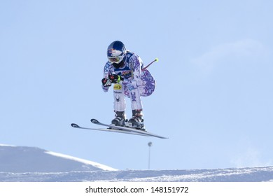 VAL D'ISERE FRANCE. 18-12-2010. Lindsey Vonn (USA) takes to the air during the women's downhill race at the FIS Alpine skiing World Cup Val D'Isere France.