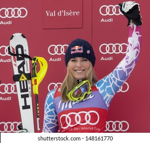 VAL D'ISERE FRANCE. 19-12-2010. Lindsey Vonn (USA) during the medal ceremony for the women's Super Combined race at the FIS Alpine skiing World Cup Val D'Isere France.