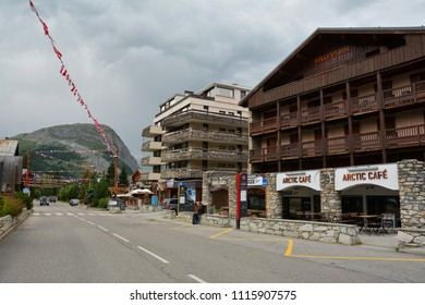 VAL D'ISERE, FRANCE - JULY 27, 2017. View of Val d'Isere ski resort, a commune of the Tarentaise Valley, in the Savoie department (Auvergne-Rhone-Alpes region) in southeastern France.