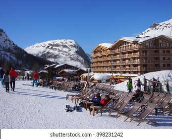 Val d'Isere, France - March 12, 2016: Ski bar in the sunshine