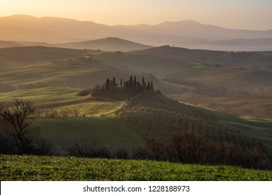 VAL D'ORCIA, ITALY- APRIL 2: Podere Belvedere villa at sunrise on April 2, 2018 in Val D'Orcia, Italy
