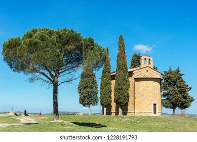 VAL D'ORCIA, ITALY- APRIL2: Chapel of Madonna di Vitaleta near San Quirico d'Orcia on April 2, 2018 in Val D'Orcia, Italy
