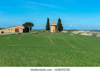 VAL D'ORCIA, ITALY- APRIL2: Tuscany landscape with the little chapel of Madonna di Vitaleta on April 2, 2018 in Val D'Orcia, Italy
