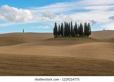 VAL D'ORCIA, ITALY- MARCH 29:  Tuscan landscape near San Quirico d'Orcia on March 29, 2018 in Val D'Orcia, Italy