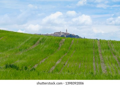 Val d'Orcia landscape in spring. The landscape of Val d'Orcia with Pienza in the background. Val d'Orcia, Siena, Tuscany, Italy - May, 2019.
