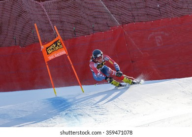 Val Gardena, Italy 19 December 2015.  Bennett Bryce (Usa) competing in the Audi Fis Alpine Skiing World Cup Men's Downhill Race on the Saslong Course in the dolomite mountain rang