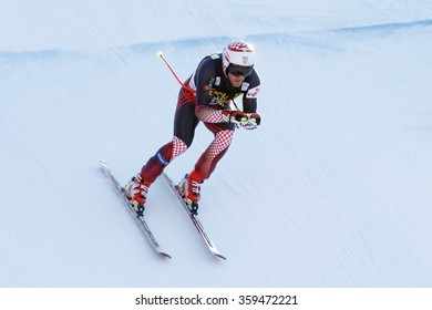 Val Gardena, Italy 19 December 2015. ZRNCIC DIM Natko (Cro) competing in the Audi Fis Alpine Skiing World Cup Men's Downhill Race on the Saslong Course in the dolomite mountain rang