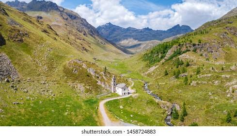 Val Grosina Occidentale - Valtellina (IT) - Malghera - Sanctuary of the Madonna del Muschio - Aerial view