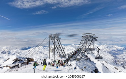 Val Thorens, France - March 1, 2018: Arrival of Cime Caron cable car in Val Thorens ski area