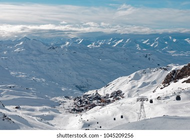 Val Thorens, France - March 1, 2018: Val Thorens viewed from Cime Caron peak