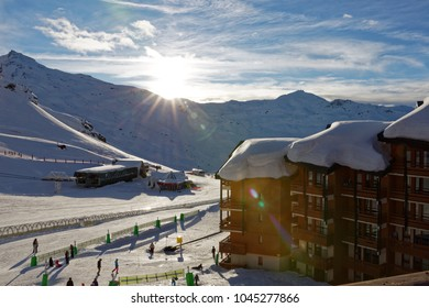 Val Thorens, France - March 1, 2018: End of a day in Val Thorens ski resort whith nice sunset