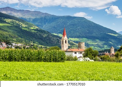 Val Venosta, Vinschgau, Alto Adige, Italy. View over Mals in South Tyrol, Italy near the border to Austria and Switzerland