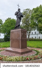 VALAAM ISLAND, KARELIA/RUSSIA-August 2, 2016: Statue of the Holy Apostle Andrew the First-Called. Sculptor Andrew Klykov. Inscription: Holy Apostle Andrew the First-Called pray to God for us.