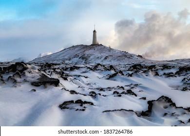 valahnukamol, blue hour, atlantic ocean, winter in Iceland, west Iceland