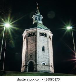 Valberg tower Watchmen Museum exterior at night, Stavanger, Norway.