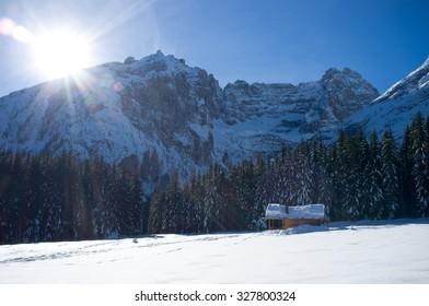 VALBONA, AURONZO DI CADORE (BL), DOLOMITES/ITALY, JANUARY 1, 2014: Sorapiss peak