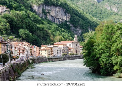 Valbrenta, Italy - May 5, 2021: panorama of the village of Valstagna in the municipality of Valbrenta, along the Brenta river