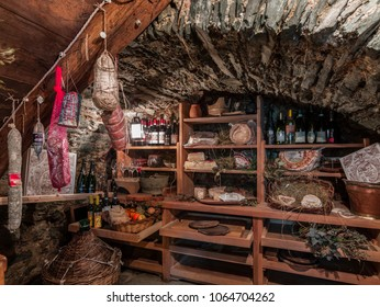 Valcasotto, Piedmont, Italy - March 20, 2014: Root cellar to preserve cheeses, meats and other typical products.