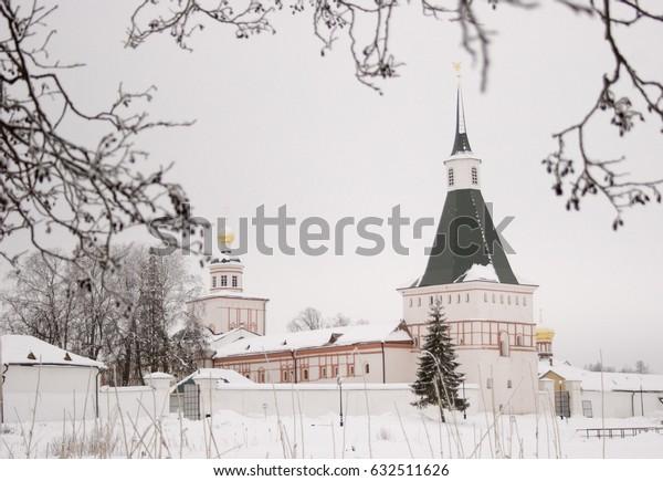 Valdai monastery and tree in winter