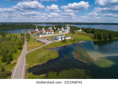 Valdaisky Iversky Svyatoozersky Bogoroditsky Monastery under a cloudy summer sky (shooting from a quadcopter). Valday, Russia