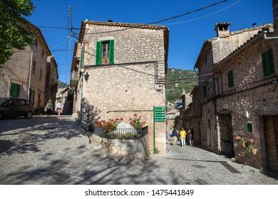 Valdemossa, Spain - 30.05.2019: A cozy street in the old town of Valdemossa