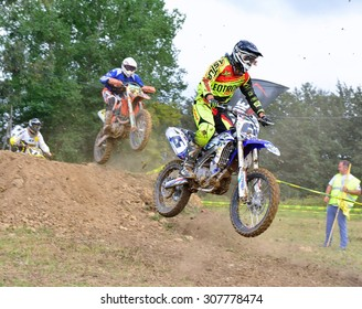 VALDESOTO, SPAIN - AUGUST 8: Asturias Motocross Championship in August 8, 2015 in Valdesoto, Spain. Marce Menendez rider with the number 15