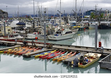 VALDEZ, ALASKA - JULY 27, 2018: Fishing port. Valdez is a very important port, it is the northernmost port of the USA that does not freeze.