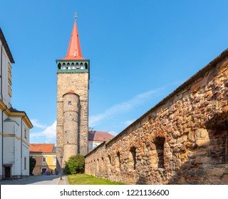 Valdice Gate, or Valdicka brana, and historical town fortification in Jicin, Czech Republic.