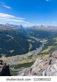 Valdidentro, little village in the Italian Alps. Panoramic view, Valtellina. Province of Sondrio