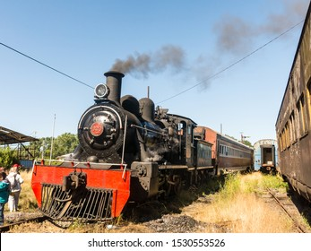 VALDIVIA, CHILE - JANUARY 13, 2018: Tourist train called Valdiviano that runs from Valdivia to Antilhue with a 1913 North British locomotive type 57. Los Rios Region, in southern Chile.