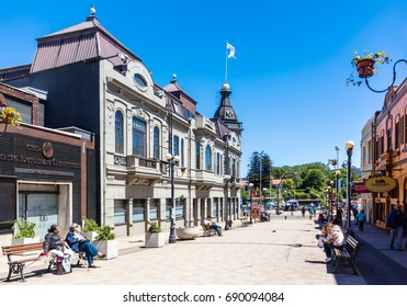 VALDIVIA, CHILE - OCTOBER 30, 2016: Pedestrian street Libertal in the center of Valdivia. This is the most beautiful and old part of the city.