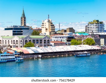 VALDIVIA, CHILE - OCTOBER 30, 2016: View of the fish market in Valdivia. This is one of the main touristic attraction of the town.