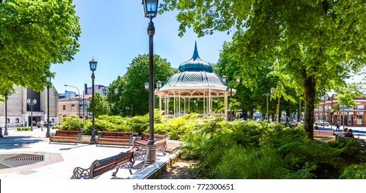 VALDIVIA, CHILE - OCTOBER 30, 2016: Plaza de la Republica in the center of Valdivia. This is the only square in Chile that is called Plaza de la Republica.