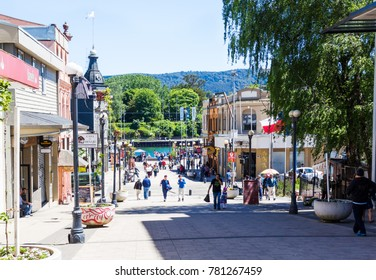 VALDIVIA, CHILE - OCTOBER 30, 2016: People walking down the pedestrian street Libertal in the center of Valdivia. This is the most beautiful and old part of the city.