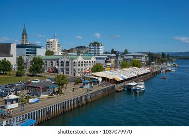 Valdivia, Los Largos, Chile - January 29, 2018:  Waterfront of Valdivia along the Calle-Calle River in the Lake District of southern Chile.
