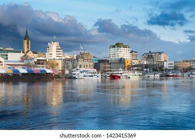 Valdivia, Region de Los Rios, Chile - August 07, 2018: View of downtown Valdivia across the Calle Calle River.